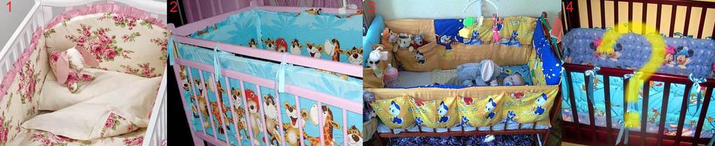 Оформление мягких бортиков детской кроватки для девочек и мальчиков