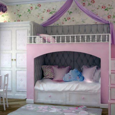 Кровать-чердак в стиле прованс