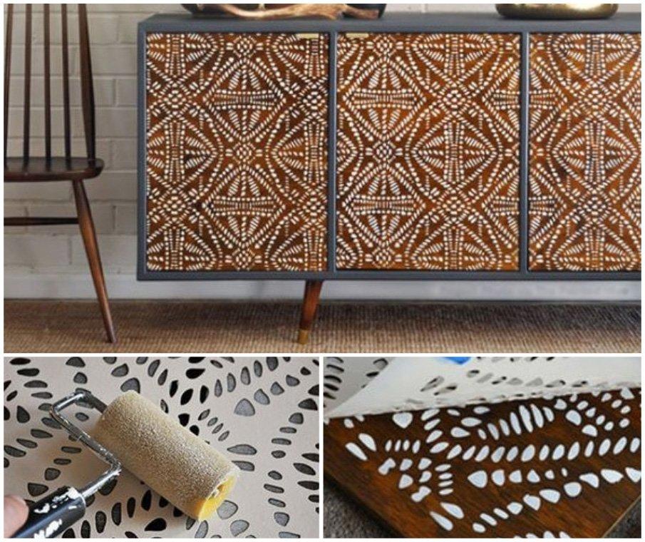 Освежите старую мебель узорчатым декором с помощью трафаретов