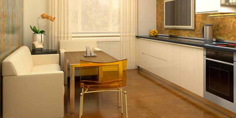 диван, небольшая кухня