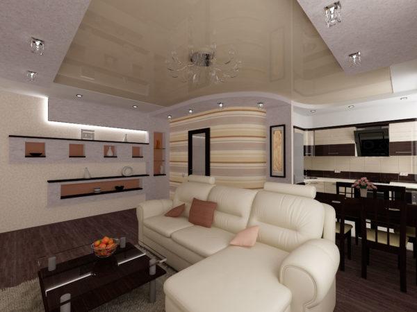 Белая мягкая мебель в гостинойи черная кухня в зоне столовой