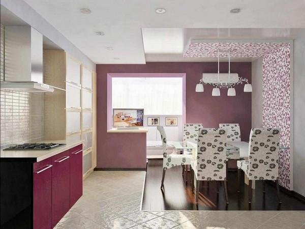 Сочетание сиреневого цвета в интерьере кухни