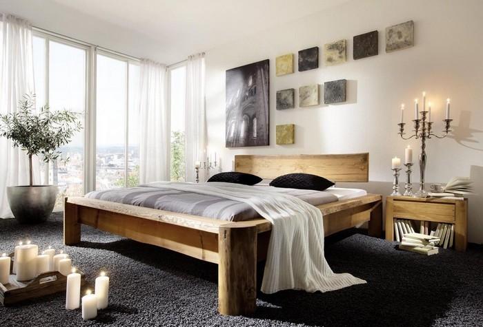 Интерьер спальни с деревянной мебелью
