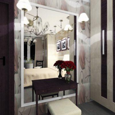 Оформление гостиной зеркалом