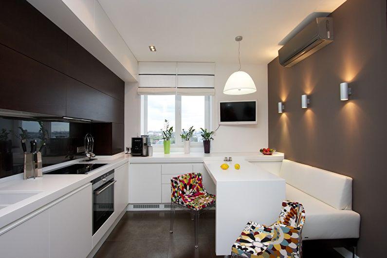Белый диван в кухне стиля хай-тек