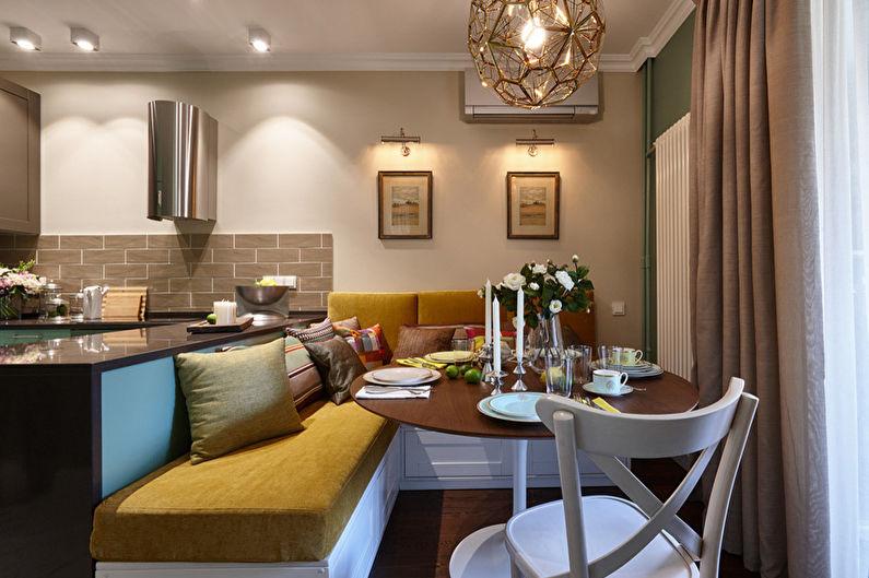 Угловой диван в интерьере кухни гостиной