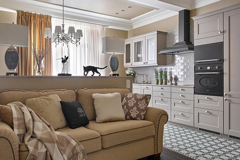 Классический диван в интерьере кухни