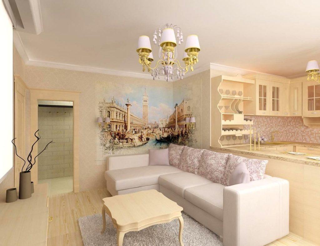 Угловой диван на кухне в стиле классики