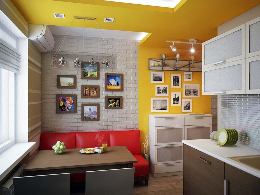 Красный диванчик в интерьере небольшой кухни