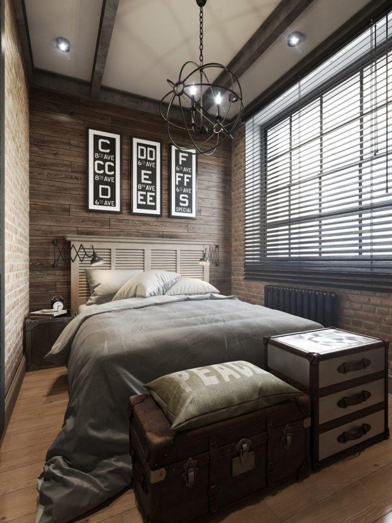 Длинная спальня - фото удачного дизайна в современном стиле