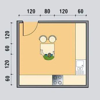 Схема закрытой кухни с островом L-образной конфигурации