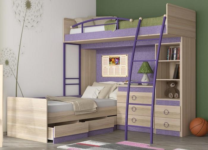 Двухъярусная кровать фиолетового цвета