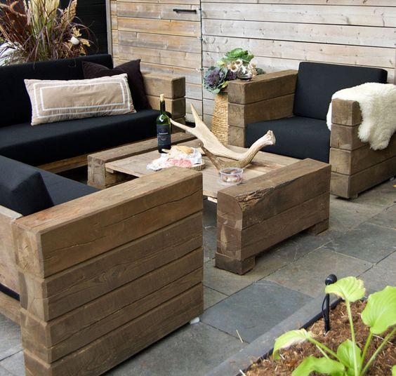 мебель в гостиную из деревянных брусьев