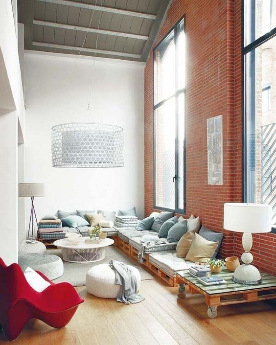самобытная эстетика гостиной в стиле лофт