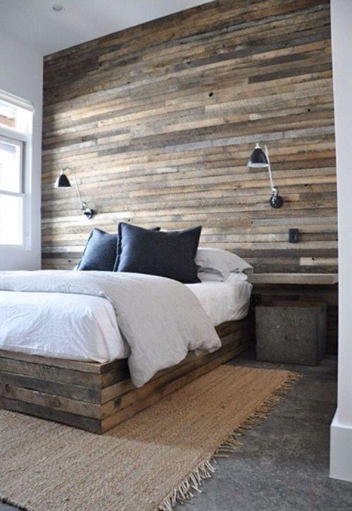 уютная спальня с элементами дерева