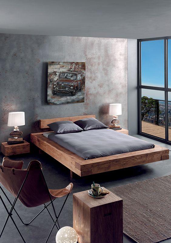 элегантная спальня с элементами лофта