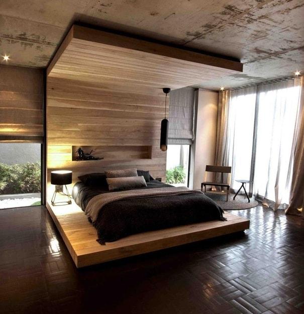 стильная деревянная кровать своими руками