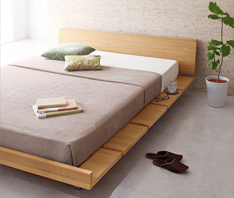 удобная кровать не поддоне из дерева