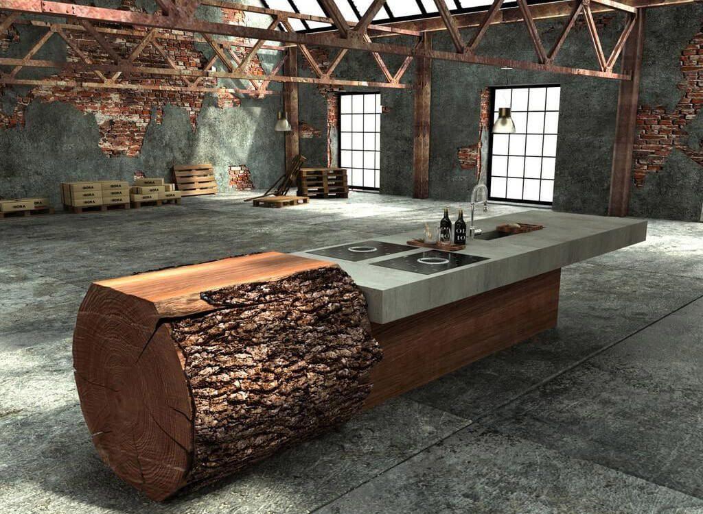 стильный стол из бревна в современном интерьере