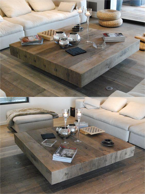 стильный столик из брусьев