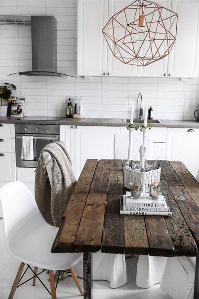 уютная кухня с элементами промышленного стиля