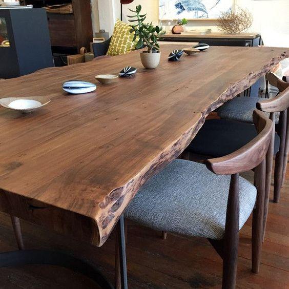 роскошный кухонный стол из цельного полотна древесины