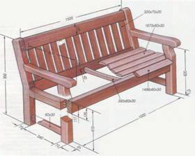 Чертеж скамейки