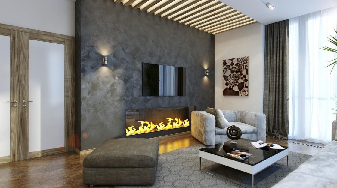 Электрокамин в современном интерье гостиной