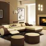 Metalic-Arched-Floor-Lamp-with-Small-Leather-Sectional-Sofa-and-Stylish-Fireplace-for-Modern-Living-Room-Ideas-with-Black-Carpet
