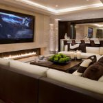 Traditional-Living-Room-Ideas-with-Electric-Fireplace-and-Big-LED-Screen-TV