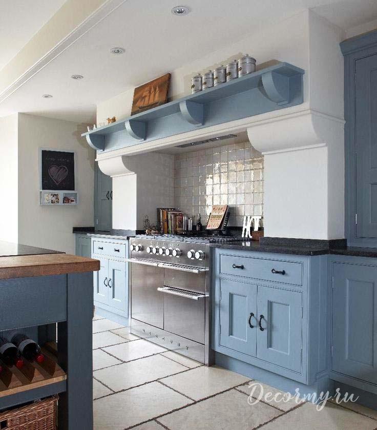 голубой цвет в кухонном гарнитуре
