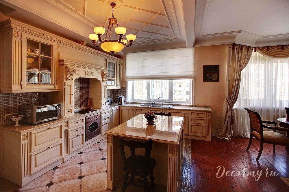 плиткаой кухни ромбиком на полу классическ