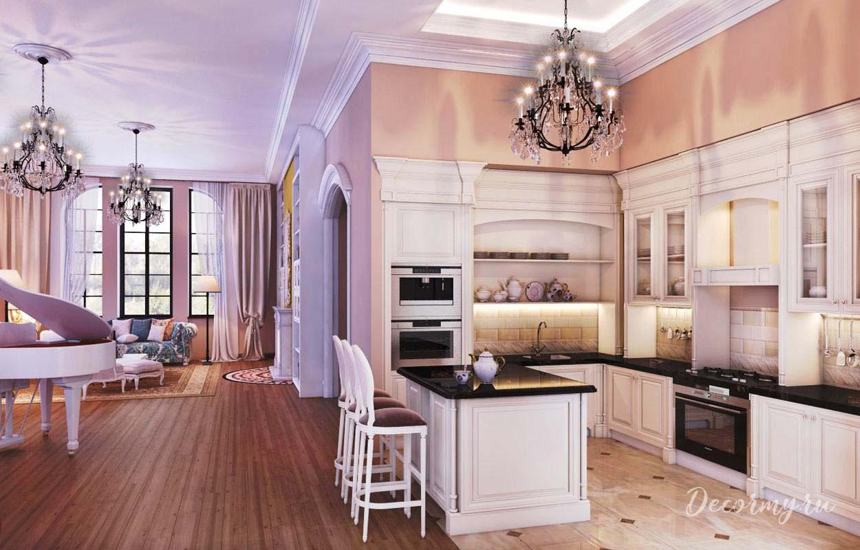 хрустальная люстра для кухни с гостиной