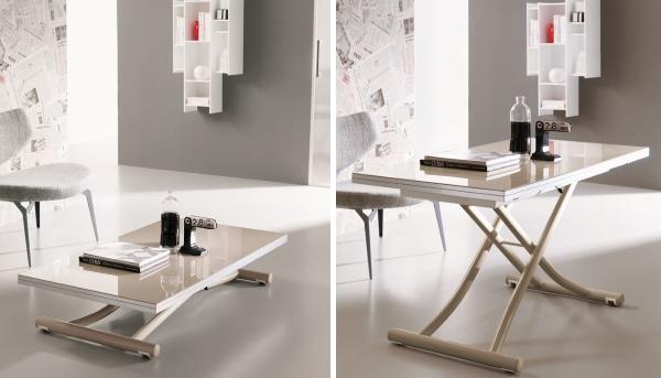 Стол-трансформер для гостиной с поднимающимися ножками