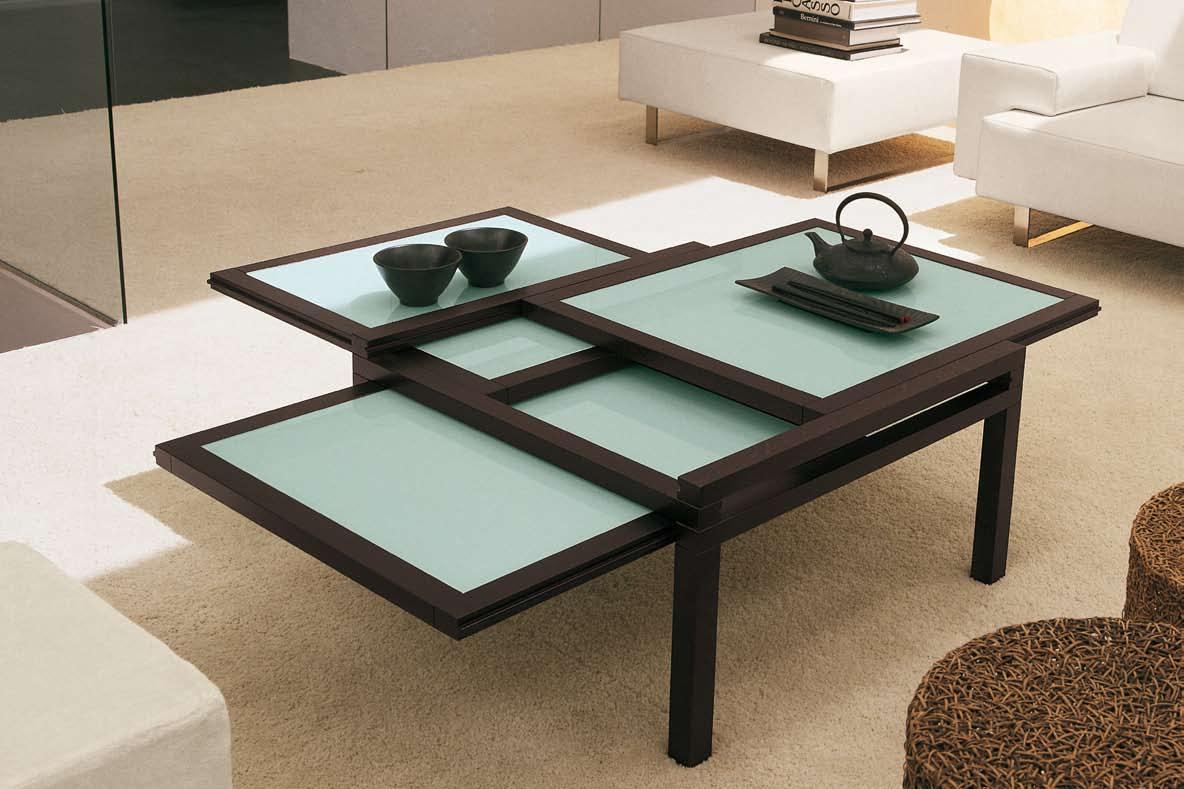 Раздвижной журнальный столик с несколькими раздвижными поверхностями для гостиной