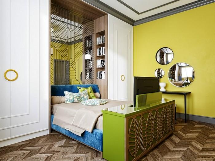Кровать в интерьере в стиле эклектика