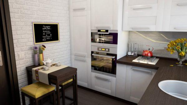 Классичекий белый цвет добавит тесной кухне без окна объема и света