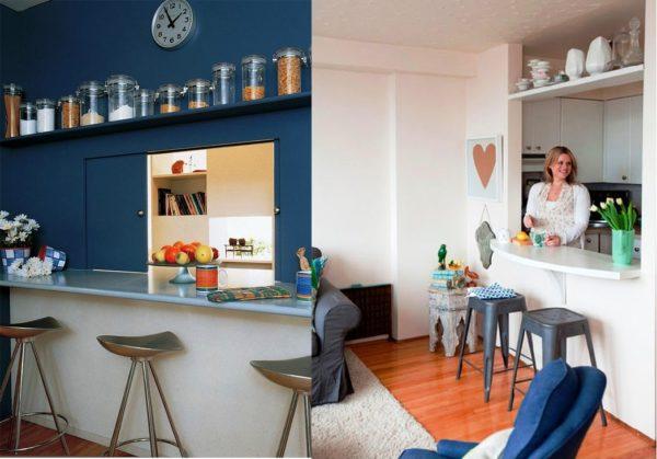 Раздаточное окно - элемент ретростиля в дизайне кухни с малой площадью без окна