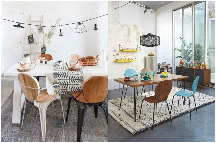 Объединение стульев по ключевым моментам: по форме и материалу