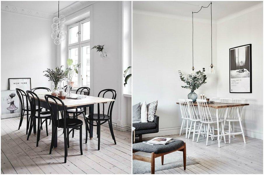 Сочетание монохромных стульев с классическим деревянным столом