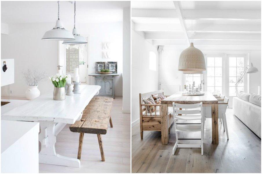 Простая деревянная мебель органично сочетается с белым цветом интерьера