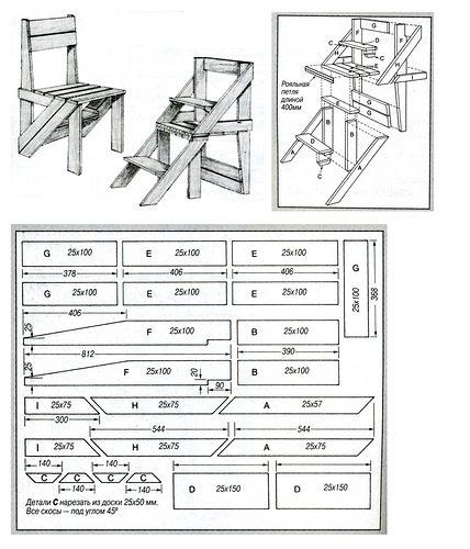 Лестница-стул своими руками: схема