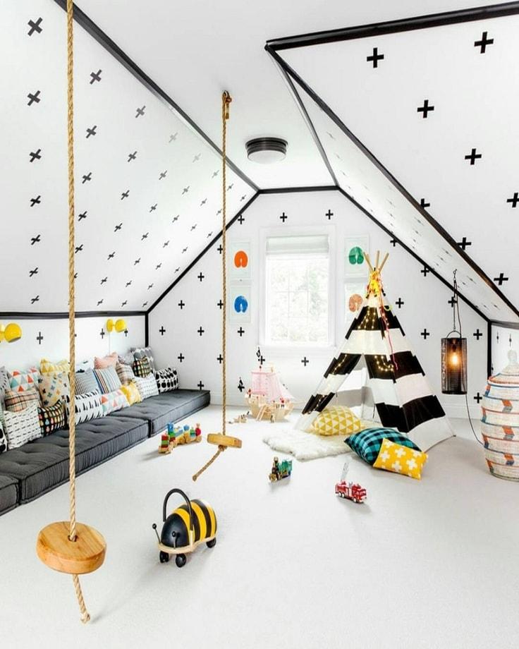 Укромный уголок вигвам, становится всё более популярным приемом у молодых дизайнеров, при оформлении интерьера детских комнат