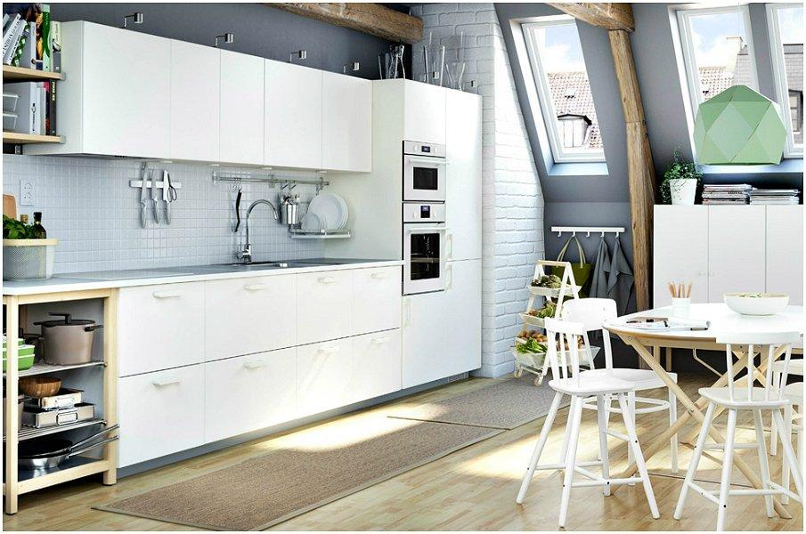 Сочетание серого и белого в интерьере кухни в стиле сканди