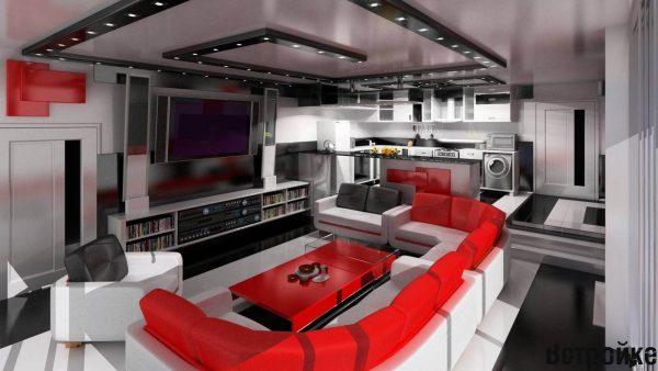белый цвет идеален для совмещения кухни с гостиной