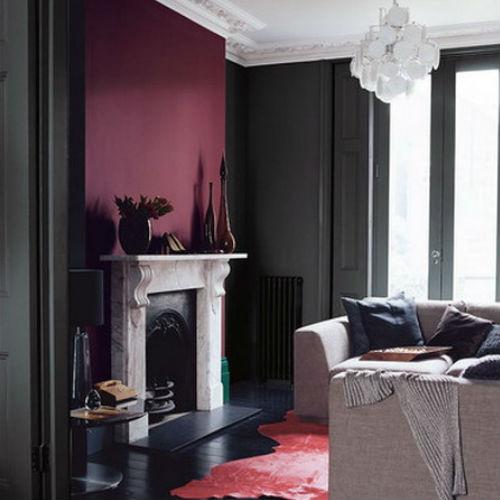 Сочетание бордового цвета в интерьере с темно-серым