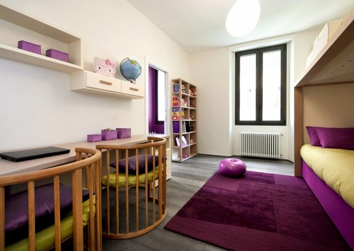 Бордово-сиреневый в интерьере детской комнаты
