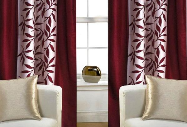 шторы бордового цвета в интерьере фото
