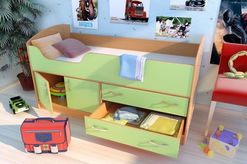 Кровать детская чердак с бортиком