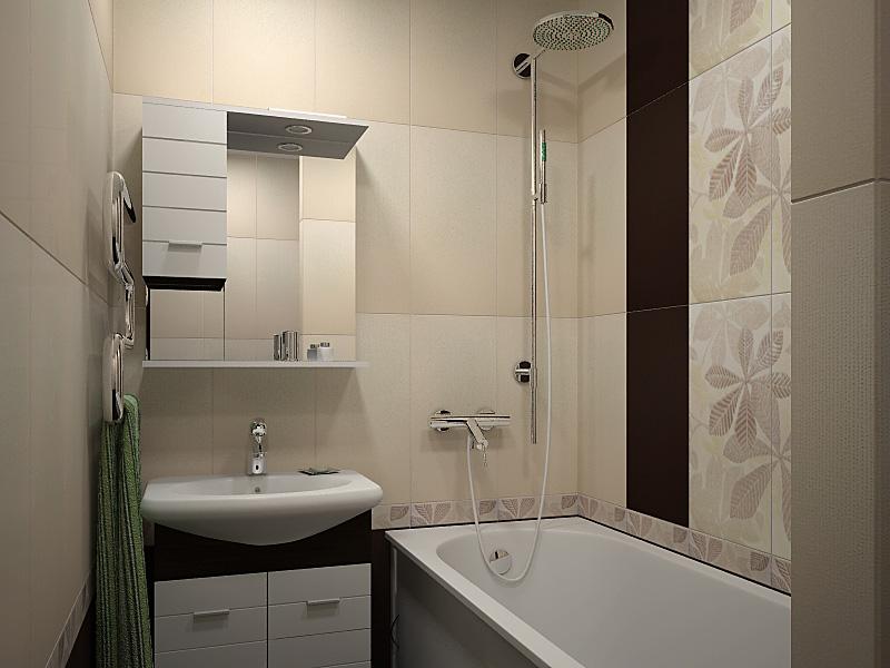 Фото дизайна для маленькой ванной комнаты в постельных светлых тонах